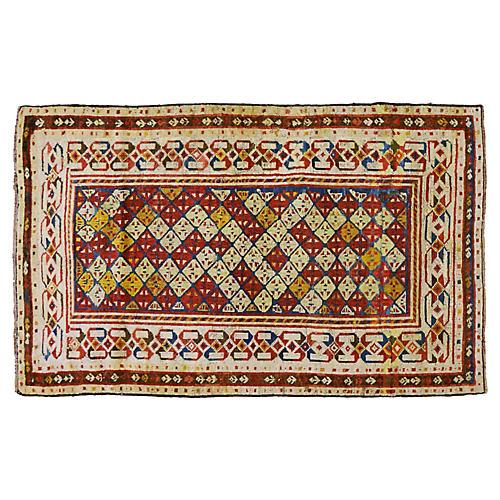 """Antique Caucasian Rug, 3'7"""" x 6'"""