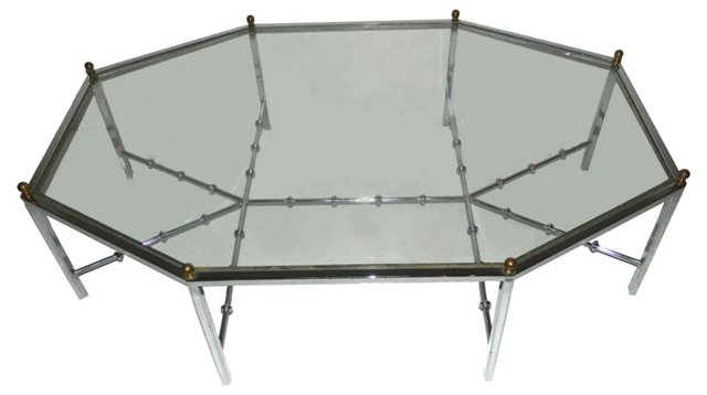 Bamboo-Style Chrome Coffee Table
