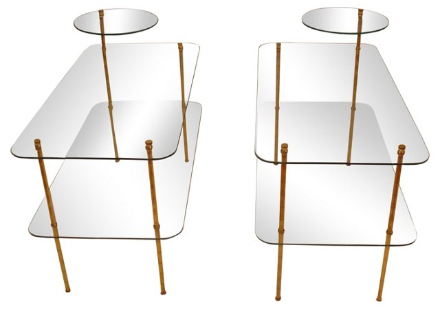 French Bamboo-Style  End Tables, Pair