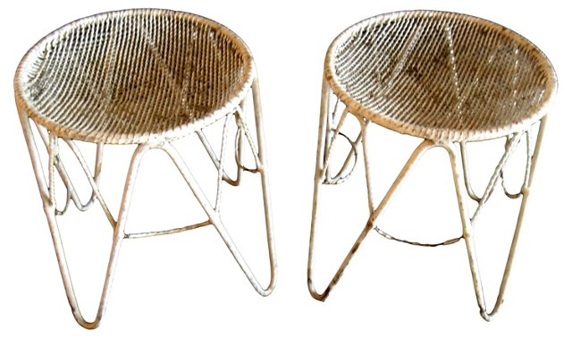 1950s French Iron Stools,  Pair