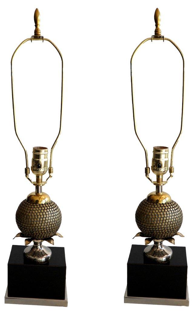 Maison Charles Pomegranate Lamps, Pair