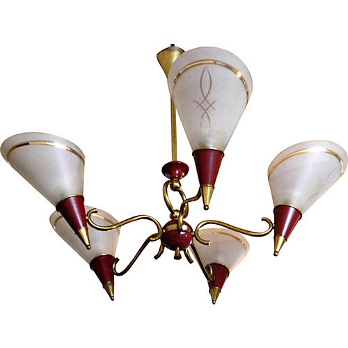 French 5-Armed Maison Petitot Chandelier