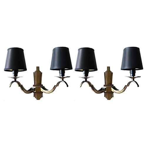 French 2-Arm Bronze Sconces, Pair