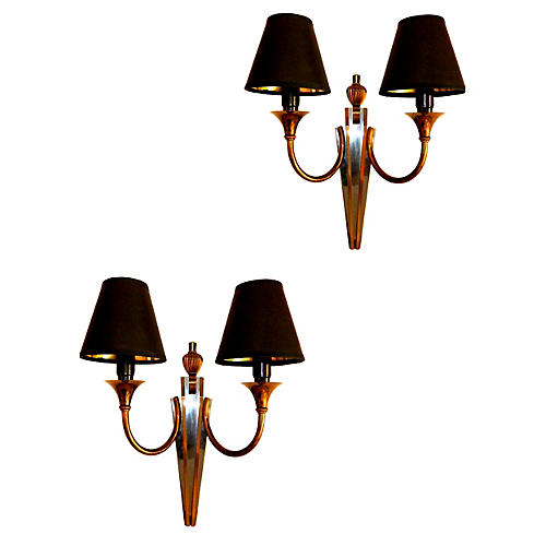Maison Jansen Bronze Sconces, Pair