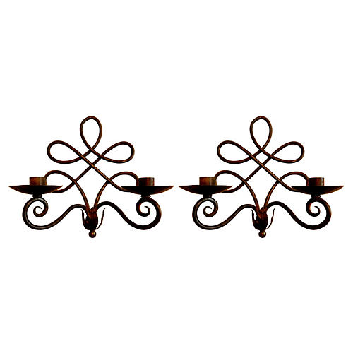 1950s Iron Sconces, Pair