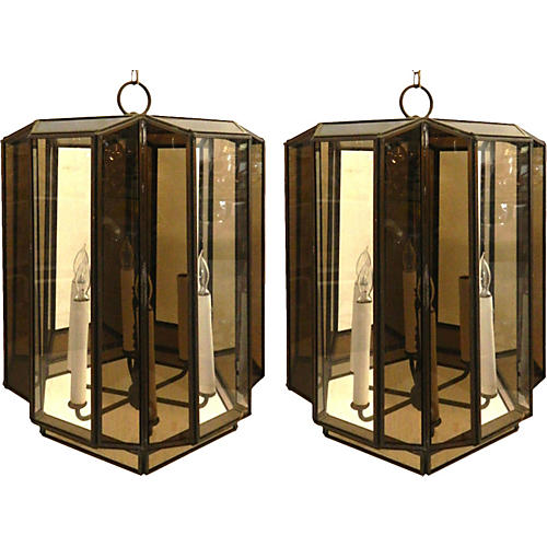 Large Brass Hanging Lanterns, Pair