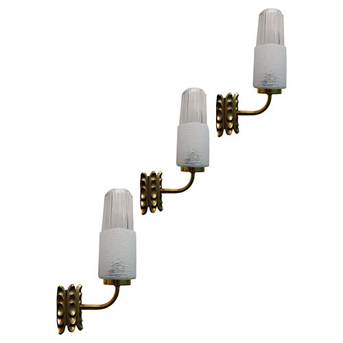 1950s French Brass & Glass Sconces, S/3