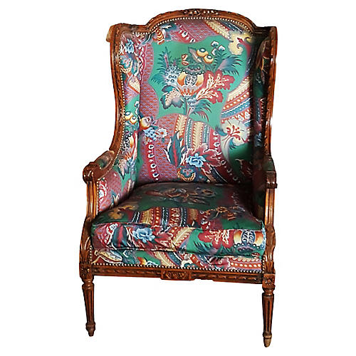 French Walnut Wingback Chair