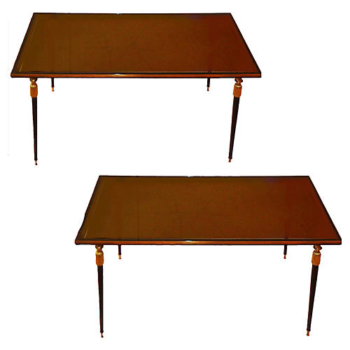 French Jules Leleu Side Tables, Pair