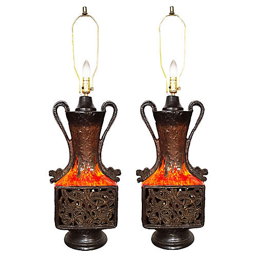 French Table Lamps, Pair