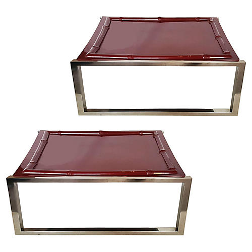 Bamboo-Style Side Tables, Pair
