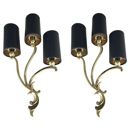 Riccardo Scarpa Bronze Sconces, Pair