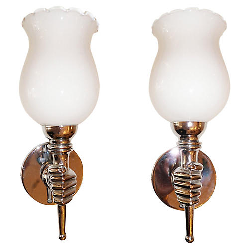 Andre Arbus Chrome Sconces, Pair
