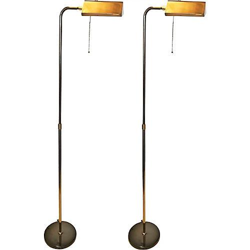Deknudt Floor Lamps, Pair