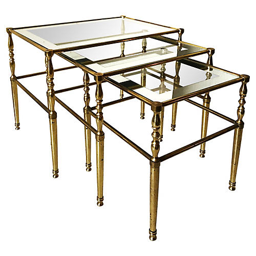 Mirrored Set of Nesting Tables, S/3