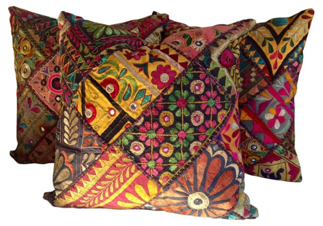 Hand-Embroidered Indian Pillows, S/3