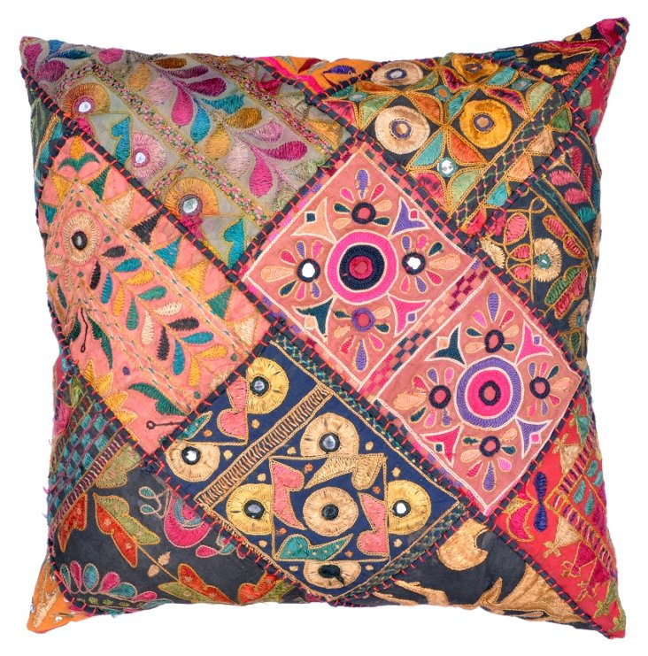 Pillow w/ Embroidered     Indian Textile