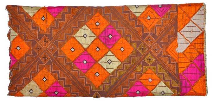 Hand-Embroidered Phulkari Throw