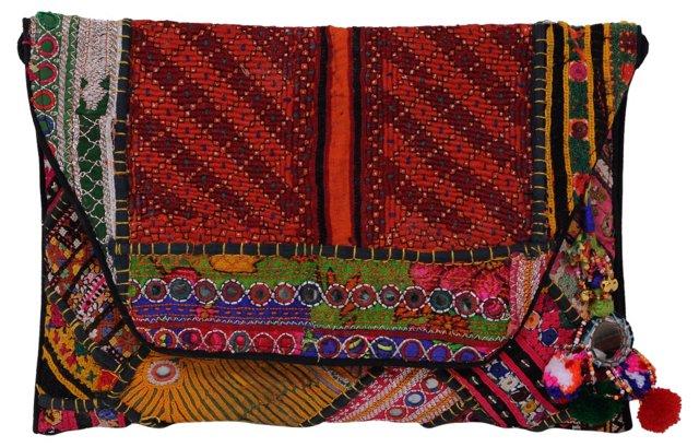 Hand-Embroidered Clutch   w/ Tassels