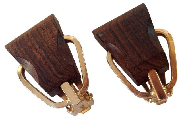 Wooden Buckle Earrings