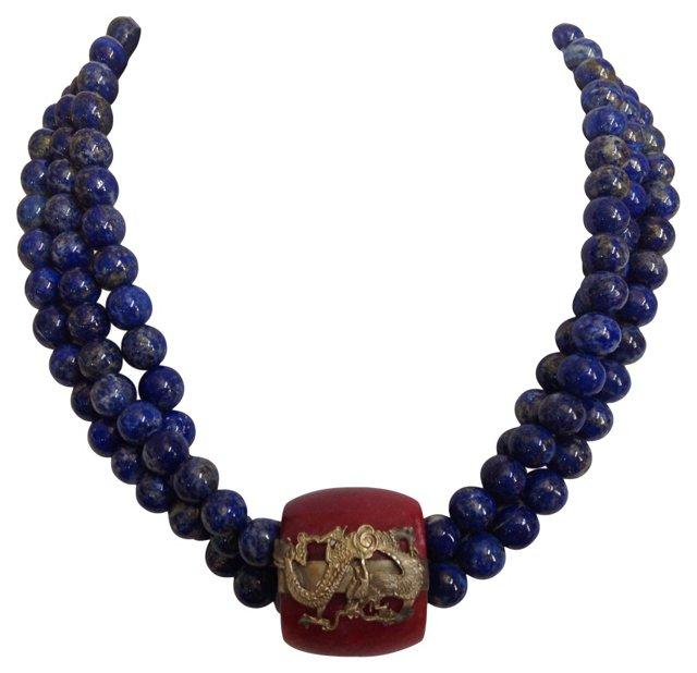 Lapis & Jade Dragon Pendant Necklace