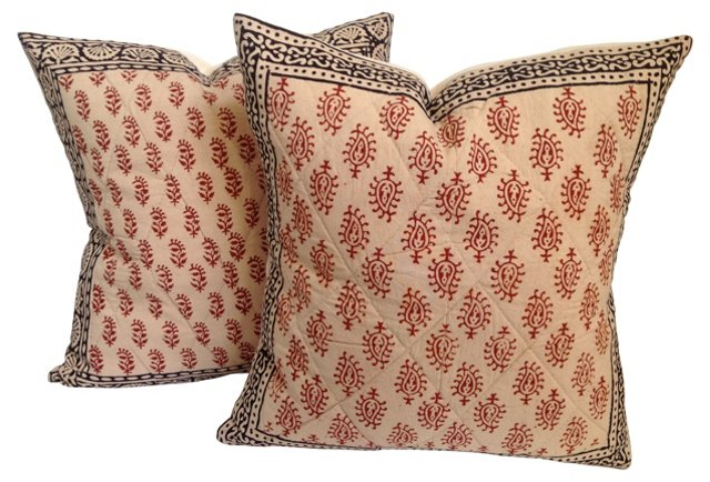 Quilted & Hand-Blocked   Pillows, Pair
