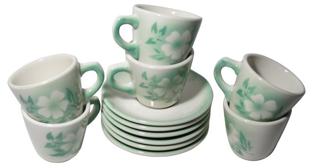 Syracuse China Cups & Saucers, 12 Pcs