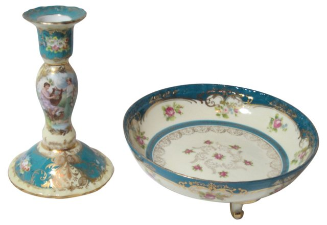 Hand-Painted Candleholder & Bowl, Pair