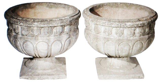 Cast Stone Urns, Pair