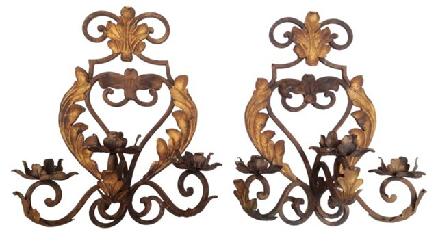 French Iron & Tole Sconces, Pair