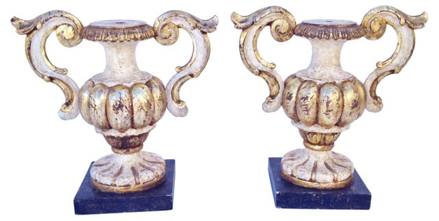 Pair Italian Painted 2-Handled Wood Urns