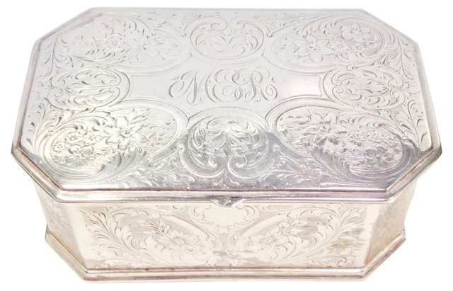 Antique Silver Box w/ Engraved  Monogram