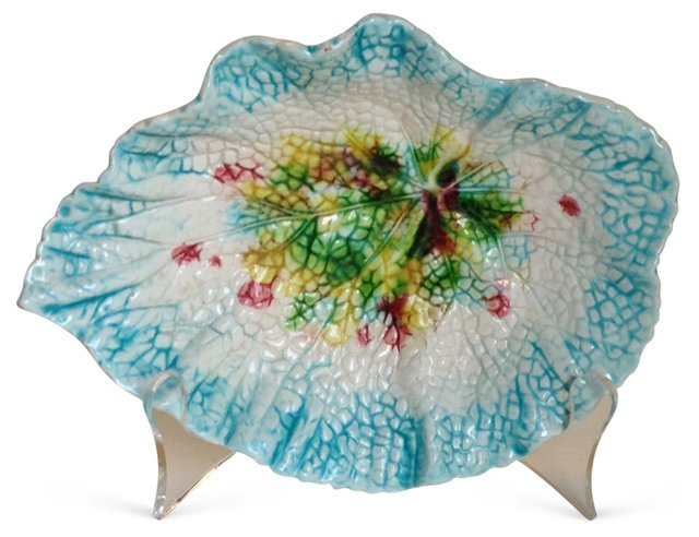 Antique Majolica Begonia Leaf Dish