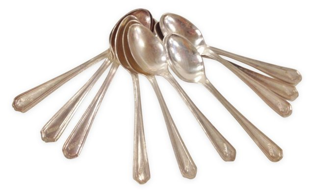 Deco Hotel Silver Cafe Spoons, Set of 10
