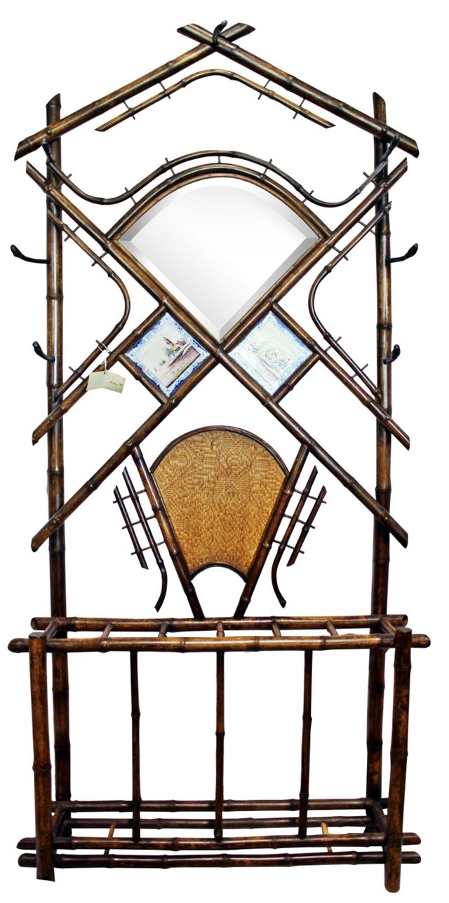 19th-C. French Burnt Bamboo Hall Stand