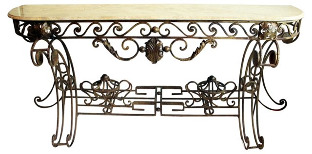 Wrought Iron Marble-Top Console