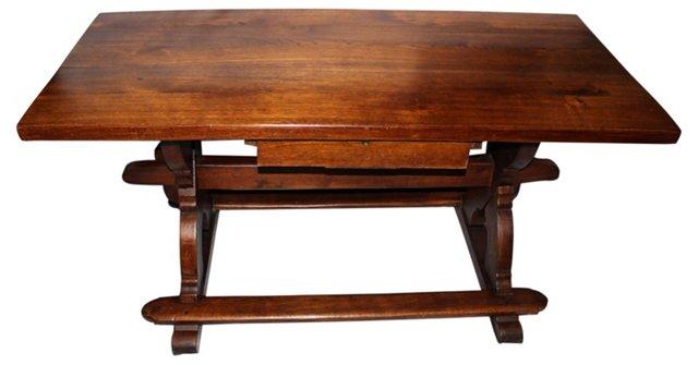 19th-C. Danish Trestle Library Table