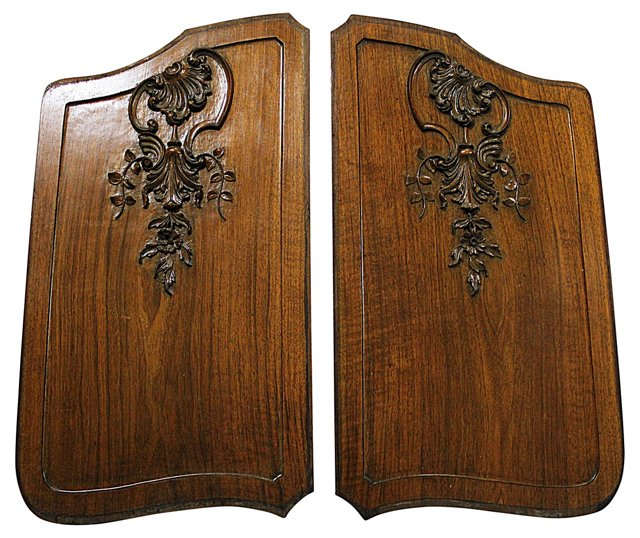 Hand-Carved Walnut Panels, Pair
