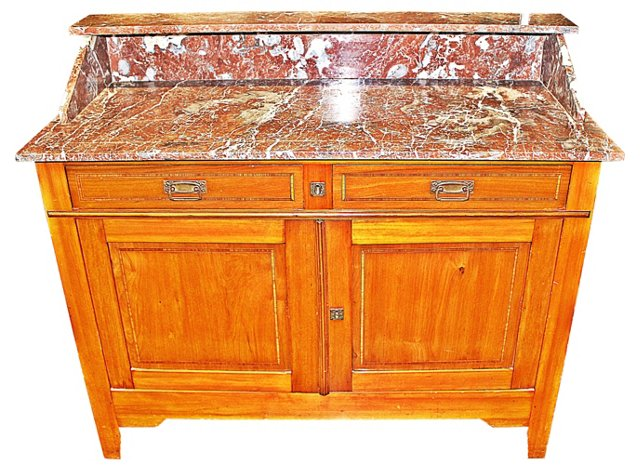 French Alsace Marble-Top Dry Sink