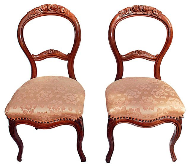 Victorian Side Chairs, Pair