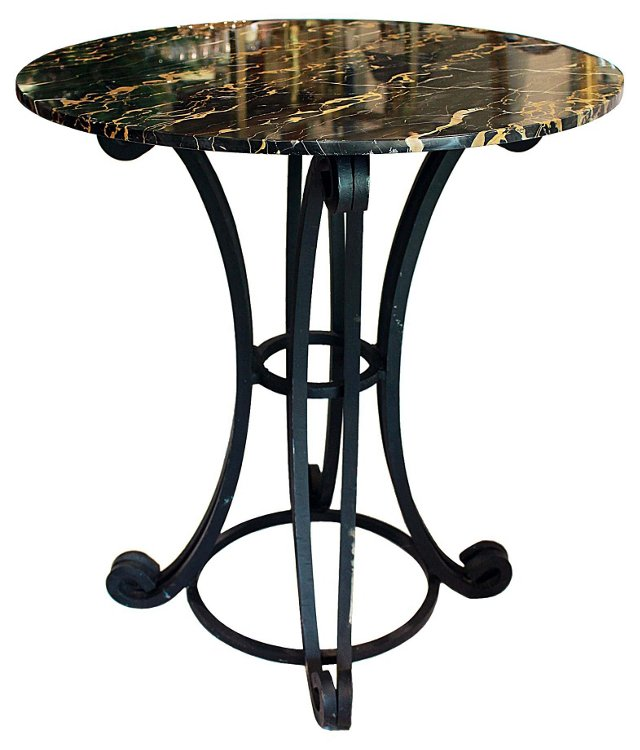 Wrought Iron Marble-Top Table