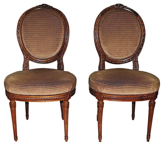 French Louis XVI-Style Side Chairs, Pr