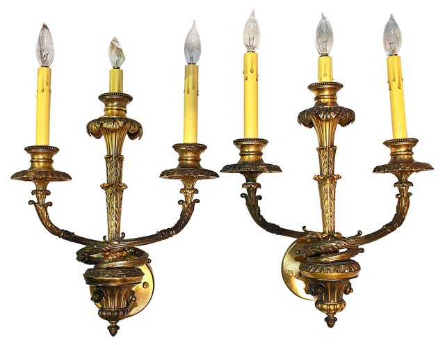 3-Arm French Bronze Sconces, Pair