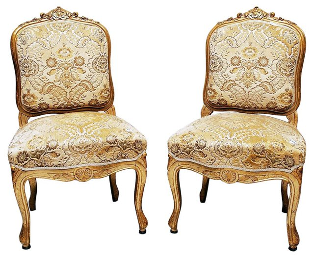French Gilt Chairs,  Pair