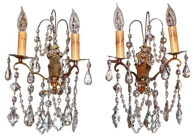 Crystal Bronze Sconces, Pair