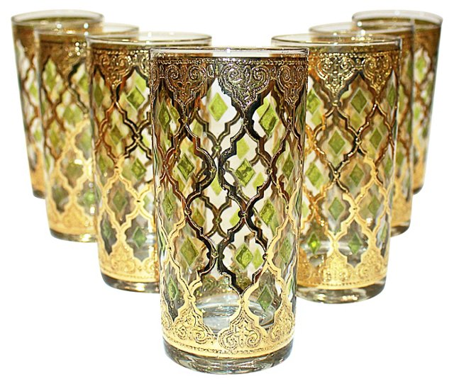 Gold Culver Highball Glasses, S/7