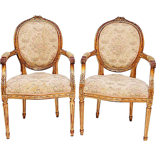 Gilt French Fauteuils, Pair