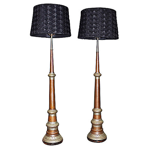 Tall Moroccan Lamps, Pair