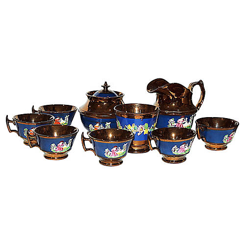 Copper Lusterware Tea Set, 9 pieces