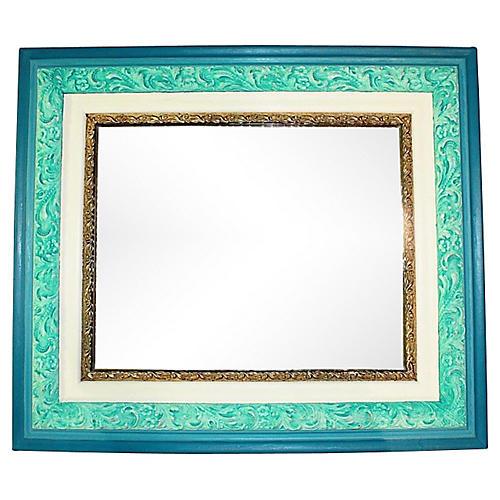 Antique Turquoise Painted Mirror
